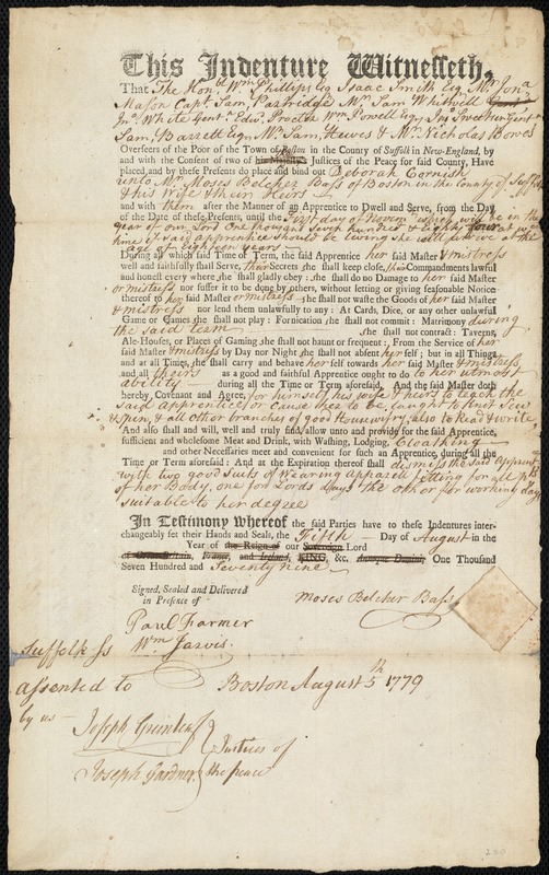 Document of indenture: Servant: Cornish, Deborah. Master: Bass, Moses Belcher. Town of Master: Boston