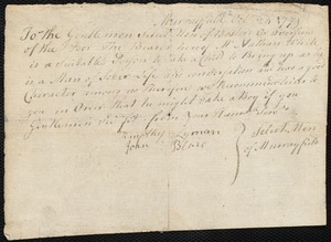 Document of indenture: Servant: Goslin, Thomas. Master: White, Nathan. Town of Master: Murrayfield. Selectmen of the town of Murrayfield autograph document signed to the Overseers of the Poor of the town of Boston: Endorsement Certificate for Nathan White.