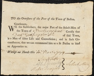 Document of indenture: Servant: Tate, Mary. Master: Smith, Godfrey [Godfry]. Town of Master: Newburyport. Selectmen of the town of Newburyport autograph document signed to the Overseers of the Poor of the town of Boston: Endorsement Certificate for Godfrey Smith.