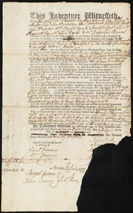 Document of indenture: Servant: Taunt, James. Master: Bacon, Oliver. Town of Master: Bedford
