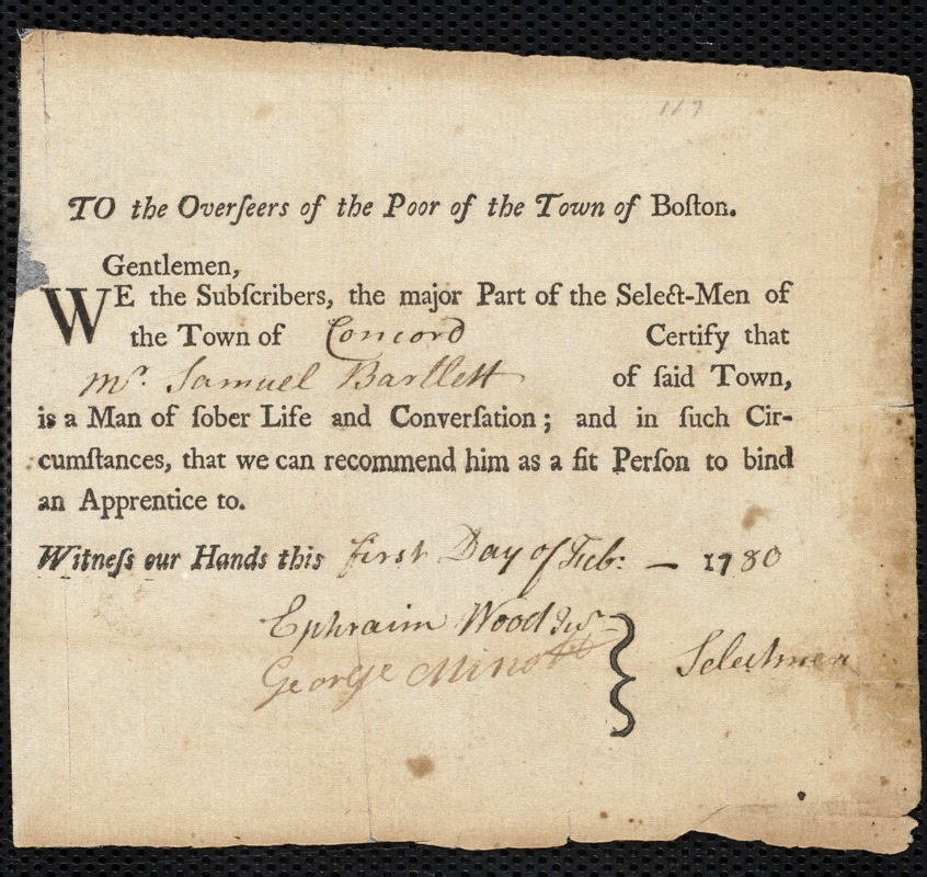 Document of indenture: Servant: Ross, Hannah. Master: Bartlett [Bartlet], Samuel. Town of Master: Concord. Selectmen of the town of Concord autograph document signed to the Overseers of the Poor of the town of Boston: Endorsement Certificate for Samuel Bartlett.