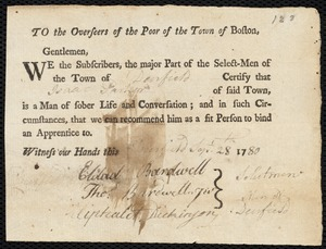 Document of indenture: Servant: Cox, Mary. Master: Parker, Isaac. Town of Master: Deerfield. Selectmen of the town of Deerfield autograph document signed to the Overseers of the Poor of the town of Boston: Endorsement Certificate for Isaac Parker.