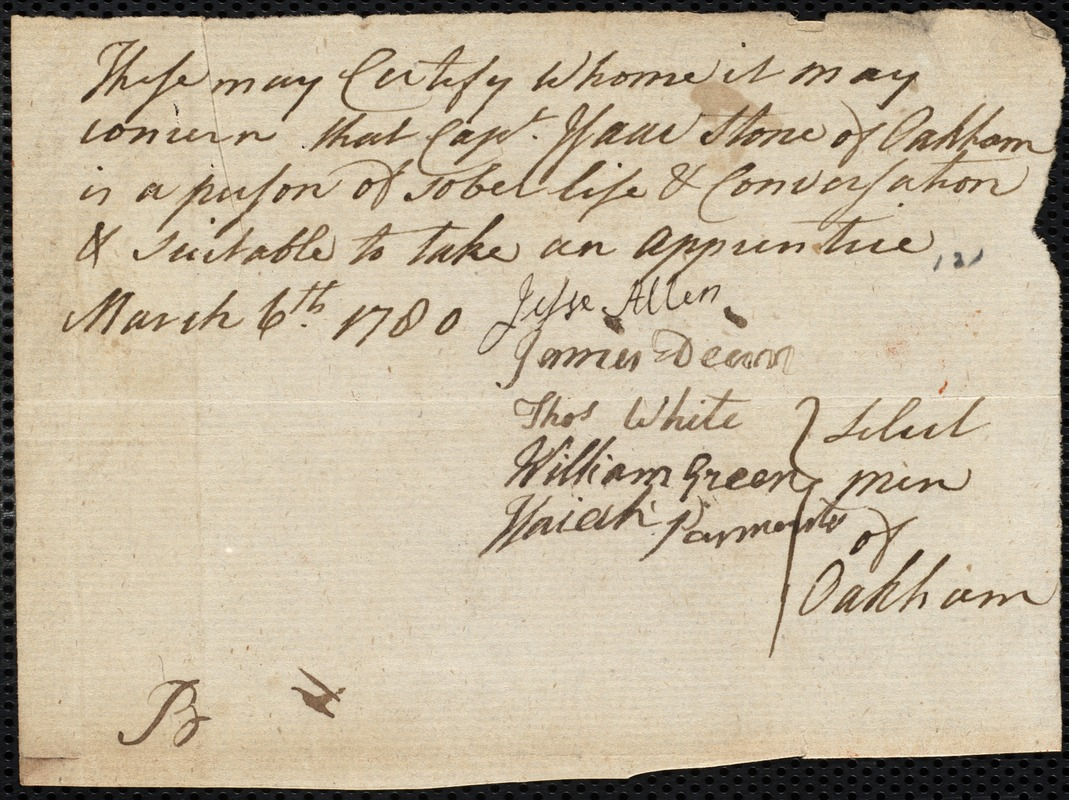 Document of indenture: Servant: Pace, Henry. Master: Stone, Isaac. Town of Master: Oakham. Selectmen of the town of Oakham autograph document signed to Whom It May Concern: Endorsement Certificate for Isaac Stone.