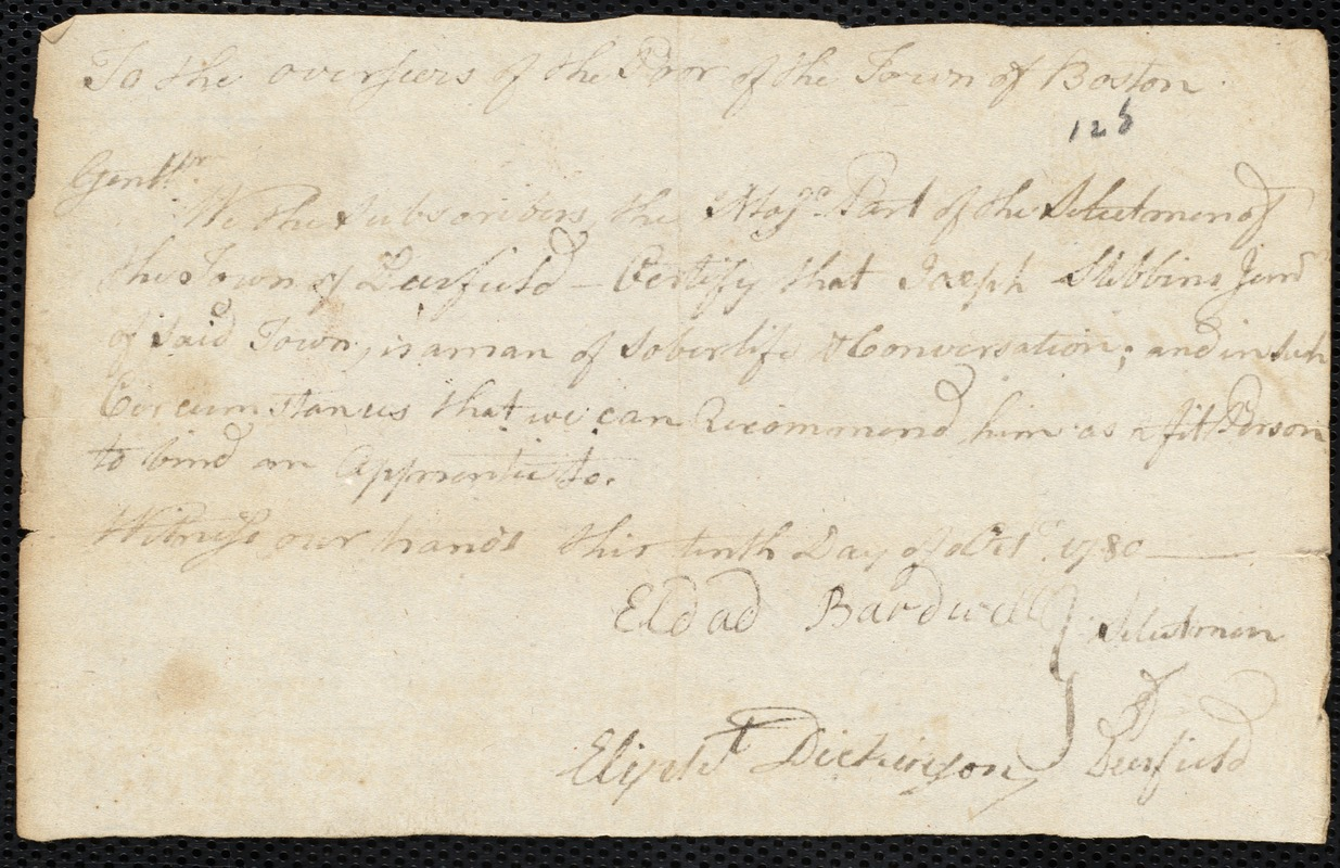 Document of indenture: Servant: Peirce, Charles. Master: Stibbins, Joseph. Town of Master: Deerfield. Selectmen of the town of Deerfield autograph document signed to the Overseers of the Poor of the town of Boston: Endorsement Certificate for Joseph Stibbins.