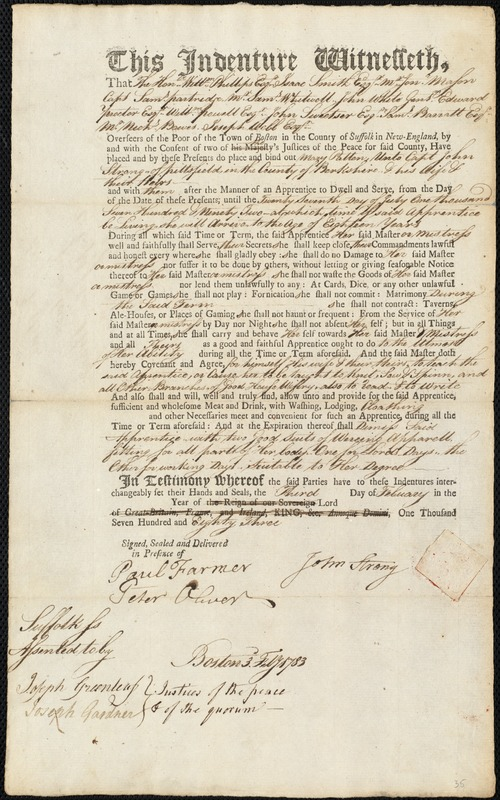 Document of indenture: Servant: Patten, Mary. Master: Strong, John. Town of Master: Pittsfield