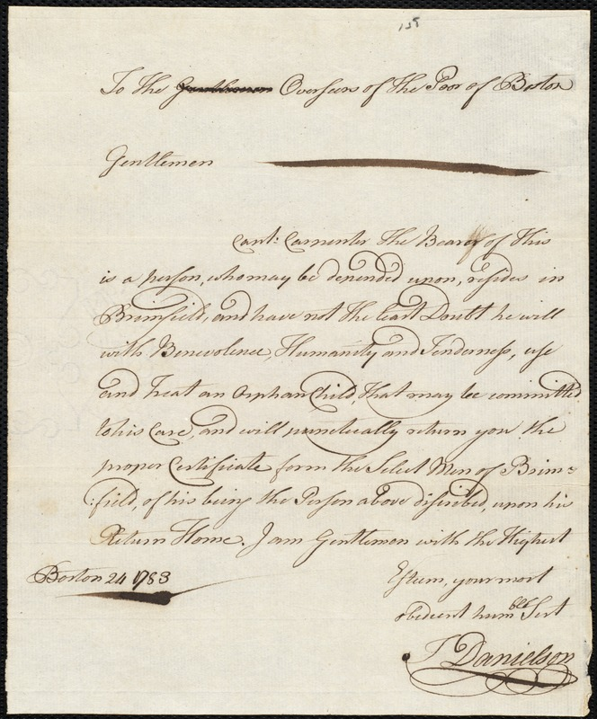 Document of indenture: Servant: Corban, Thomas. Master: Carpenter, John. Town of Master: Brimfield. Selectmen of the town of Brinfield autograph document signed to the Overseers of the Poor of the town of Boston: Endorsement Certificate for John Carpenter.