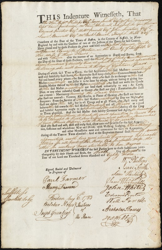 Document of indenture: Servant: Spencer, Elizabeth. Master: Clements, Thomas. Town of Master: Boston
