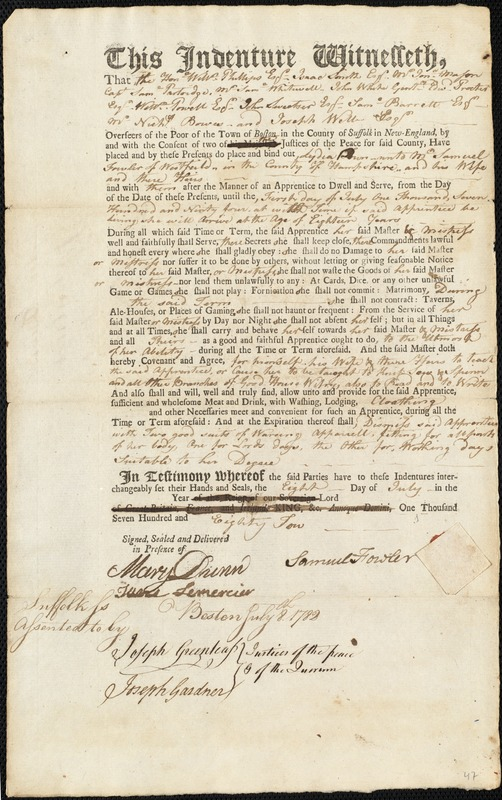 Document of indenture: Servant: Down, Lydia. Master: Fowler, Samuel. Town of Master: Westfield