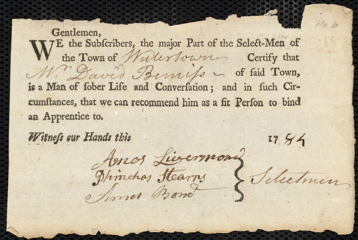 Document of indenture: Servant: Webb, Royall. Master: Bemiss, David. Town of Master: Watertown. Selectmen of the town of Watertown autograph document signed to the Overseers of the Poor of the town of Boston: Endorsement Certificate for David Beniss.
