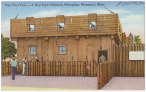 The First Fort -- A replica at Plymouth Plantation, Plymouth, Mass.