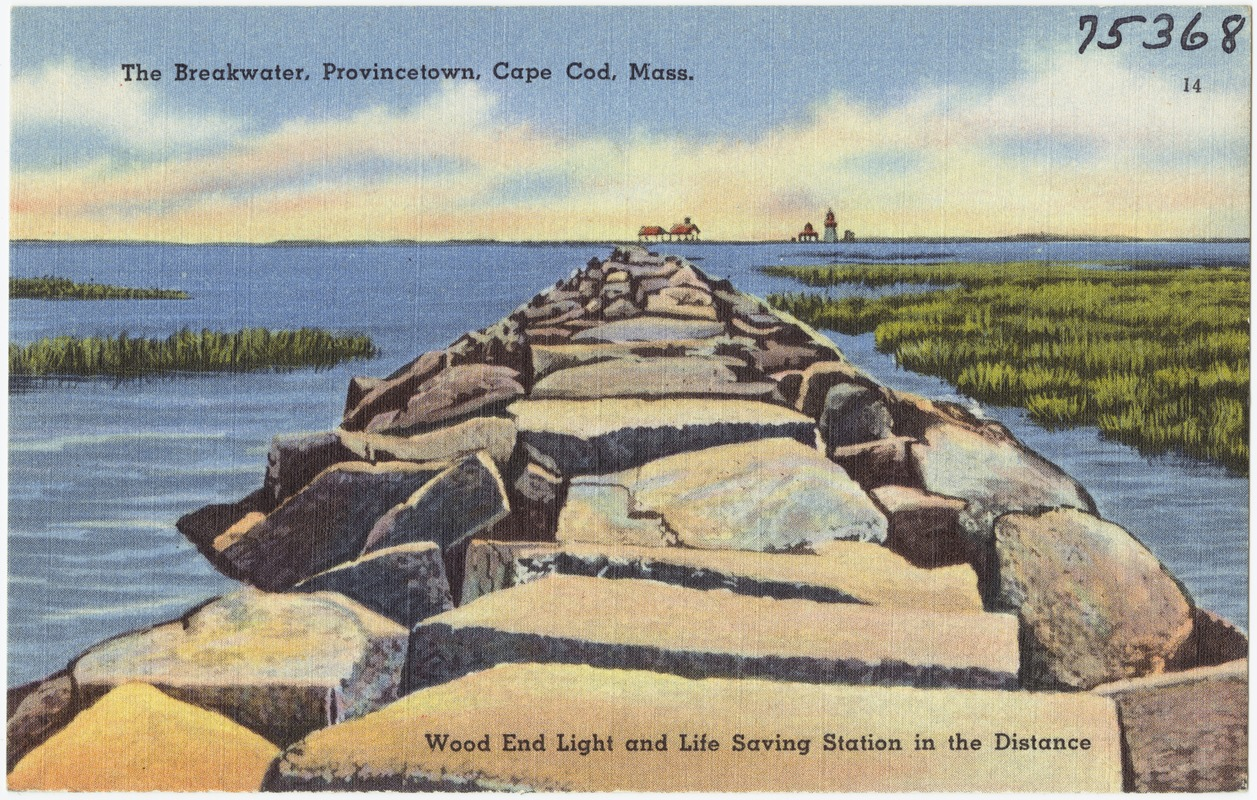 The  breakwater, Provincetown, Cape Cod, Mass. Wood End Light and Life Saving Station in the distance.
