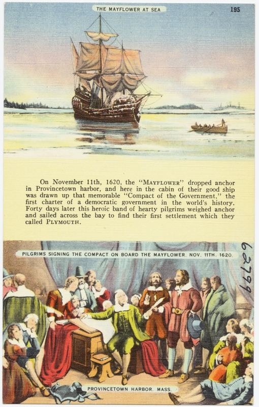 The Mayflower at sea, pilgrims signing the compact on board the Mayflower, Nov. 11th, 1620. Provincetown Harbor, Mass.
