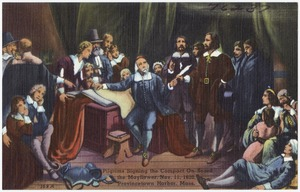 Pilgrims signing the compact on board the Mayflower, Nov 11, 1620, Provincetown Harbor, Mass.