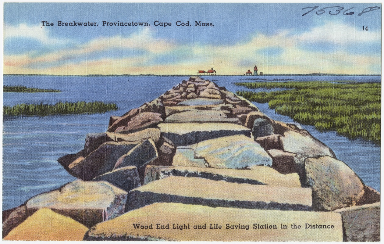 The breakwater, Provincetown, Cape Cod, Mass., Wood End Light and Life Saving Station in the distance.