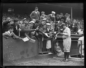 Babe Ruth autographing at Fenway