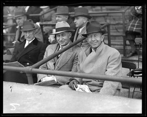 Charles F. Adams and Eddie Collins take in a game