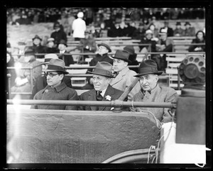 Gov. Ely and Charles F. Adams at ball game, Braves Field