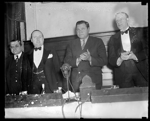 Babe Ruth at a banquet to honor him after he signed with the Braves