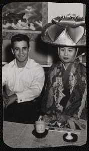 Young man with geisha in Teahouse of August Moon in Japan