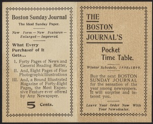 The Boston Journal's pocket time table