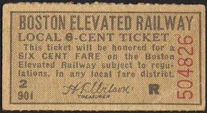 Boston Elevated Railway local 6-cent ticket