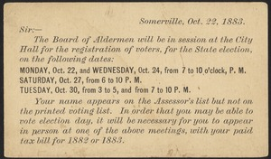 Board of Aldermen, registration of voters, October 22, 1883