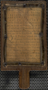 Hornbook containing alphabet, syllabary, and the Lord's prayer