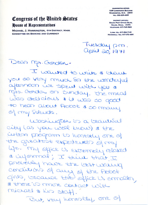 Letter to Don Gordon from former Abbot Academy student Marra