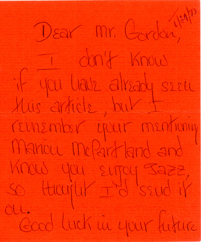 Letter to Don Gordon from former Abbot Academy student Linda Rawsou, January 29, 1973