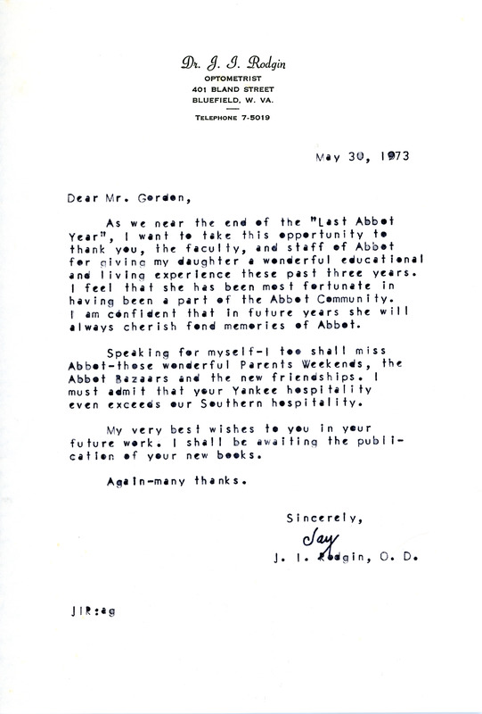 Letter to Don Gordon from parent Jay Rodgin, Abbot Academy, May 30 ...