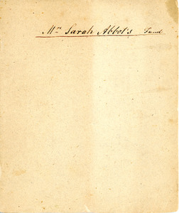 Madame Sarah Abbot Account Book, 1812-1817