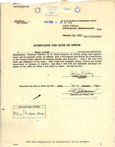 Acceptance and oath of office, Helen Ripley, Abbot Academy, class of 1930