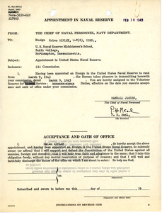 Appointment in Naval Reserve, Helen Ripley, Abbot Academy, class of 1930