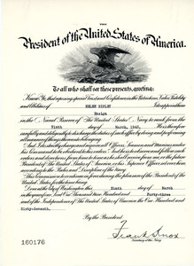 Certificate of enlistment, United States Navy, Helen Ripley, Abbot Academy, class of 1930