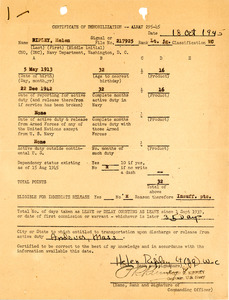Certification of demobilization and release of active duty, Helen Ripley, Abbot Academy, class of 1930