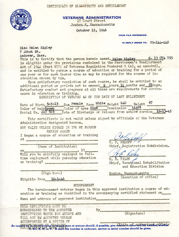 Certificate Of Eligibility And Entitlement Veterans Administration