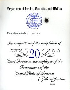Certificate of appreciation for twenty years of service, Helen Ripley, Abbot Academy, class of 1930