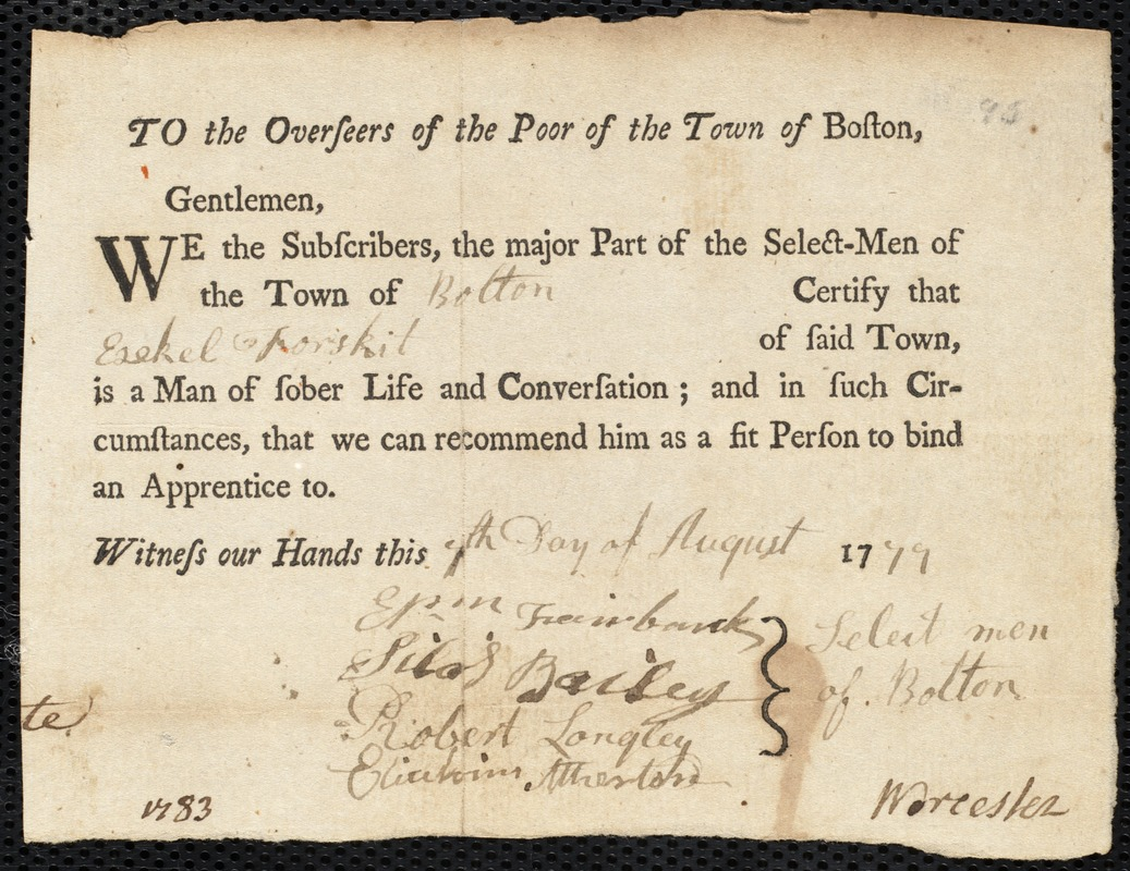 Document of indenture: Servant: Kiltey, Mary. Master: Fosgate, Ezekiel. Town of Master: Bolton. Selectmen of the town of Bolton autograph document signed to the Overseers of the Poor of the town of Boston: Endorsement Certificate for Ezekiel Fosgate.