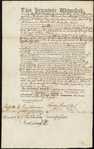 Document of indenture: Servant: Hatch, Abigail. Master: Prentiss, Henry. Town of Master: Boston