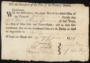 Document of indenture: Servant: Jenkins, Francis. Master: Pomeroy [Pumroy], Ethan. Town of Master: Hadley. Selectmen of the town of Hadley autograph document signed to the Overseers of the Poor of the town of Boston: Endorsement Certificate for Ethan Pomeroy.