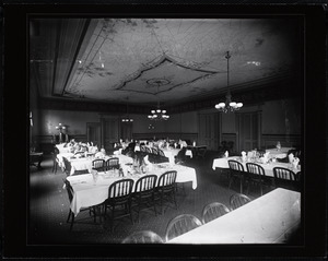 Banquet room with trompe d'oeil ceiling