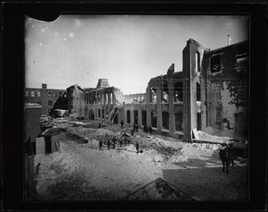 Burned section of the Holyoke Water Power Cabot Street Mill