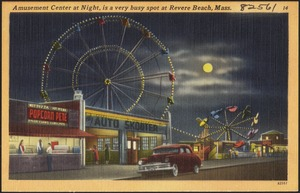 Amusement Center at night, is a very busy spot at Revere Beach, Mass.