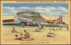 Beach scene and Derby Racer, Revere Beach, Mass.