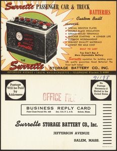 Surrette Storage Battery Co., Inc., Jefferson Avenue, Salem, Mass.