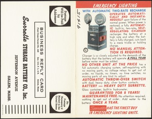 Emergency Lighting with Automatic Two-Rate Recharge, Surrette Storage Battery Co., Inc., Jefferson Avenue, Salem, Mass.