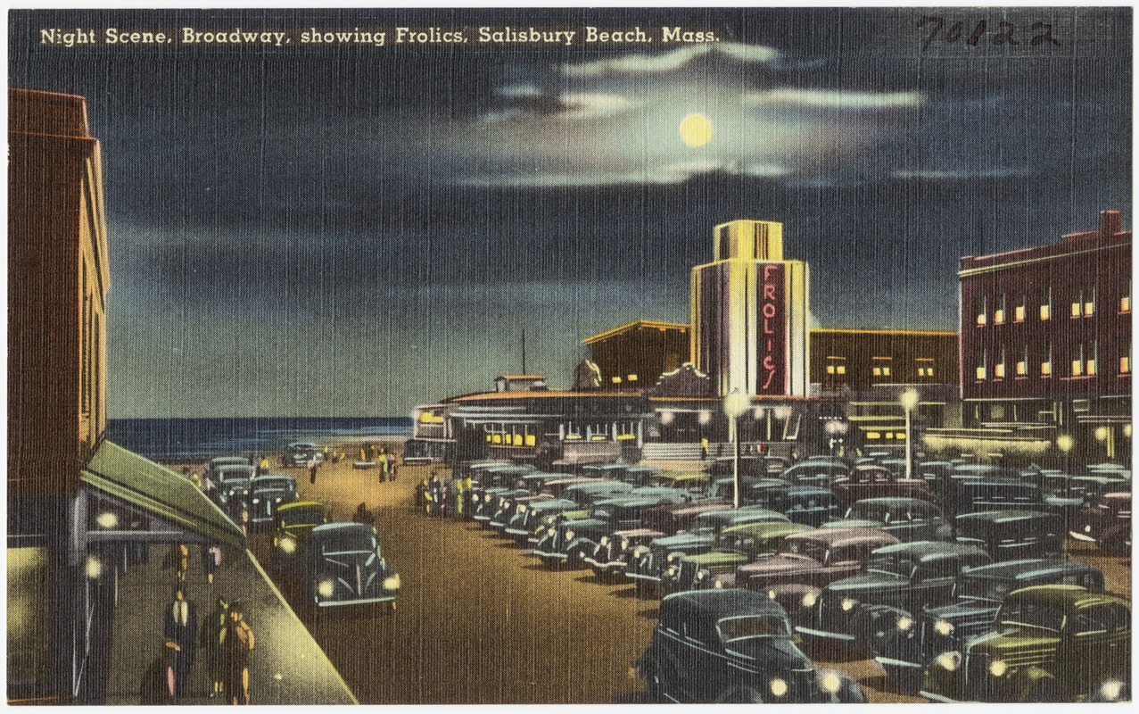 Night Scene Broadway Showing Frolics Salisbury Beach M