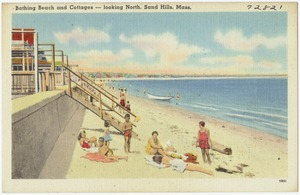 Bathing beach and cottages -- looking north, Sand Hills, Mass.
