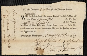 Document of indenture: Servant: Godfrey, John. Master: Knight, Matthew. Town of Master: Lancaster. Selectmen of the town of Lancaster autograph letter signed to the Overseers of the Poor of the town of Boston: Endorsement Certificate for Matthew Knight.