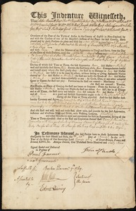 Document of indenture: Servant: Dunscutt, Sarah. Master: McClenche, John. Town of Master: Amherst